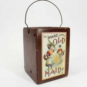 Vintage Old Maid Cat Wooden Box with Handle